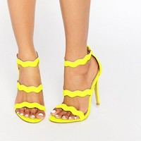Public Desire Ela Neon Yellow Strappy Heeled Sandals