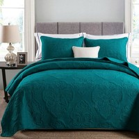 Solid White Beige Green color Soft Cotton 3Pcs Bedding set Queen size Embroidered Bedspread Quilted Bed Cover Sheets Blanket Set