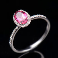 Natural Oval Pink Tourmaline Diamond Ring Solid 10K White Gold Jewelry Size 7