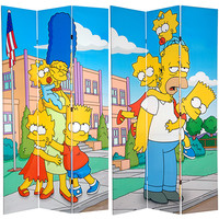 Oriental Furniture CAN-SIMP-732 Simpsons Multi-Colored 7 Ft. Tall Double Sided Canvas Kids Room Divider