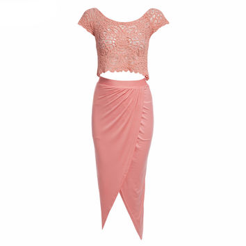 Pink Lace Crop Top and  Asymmetric Slit Skirt Set