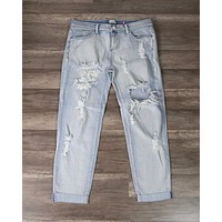 Final Sale - Jennifer Light Wash Destroyed Boyfriend Jeans