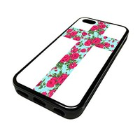 For Apple Iphone 5 or 5s Cute Phone Cases for Girls Teal Floral Rose Flowers Cross Design Cover Skin Black Rubber Silicone Teen Gift Vintage Hipster Fashion Design Art Print Cell Phone Accessories