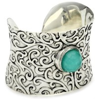 """Vento Bianco """"Passionata"""" Sterling Silver Turquoise Doublet Cuff Bracelet - designer shoes, handbags, jewelry, watches, and fashion accessories   endless.com"""