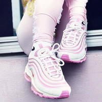 NIKE AIR MAX 97 Trending Unisex Running Sneakers Sport Shoes Pink I