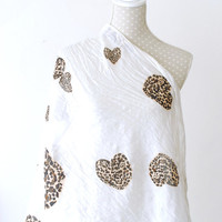 Oversized WHITE HEART Infinity Scarf Loop Scarf with Leopard Heart Print Great with your outfit