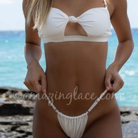 Beach Bliss White Ruched Bikini Bottoms