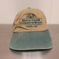 Vintage 90's Basin Creek County Store Strapback Dad Hat Brown and Green Elkin NC North Carolina Made By Sportsman