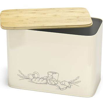 Cooler Kitchen Extra Large Space Saving Vertical Bread Box with Eco Bamboo Cutting Board Lid - Holds 2 Loaves - Cream Extra Large Farmhouse Breadbox Bread Holder