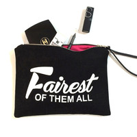 """Mother's Day Gift - """"Fairest of Them All"""" - Make - Up Case, Cosmetic Case, All Purpose Clutch - Black / White Combo"""