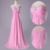 2014Strapless Beaded Party Prom Evening Formal Bridesmaids Bridal Gowns Dresses