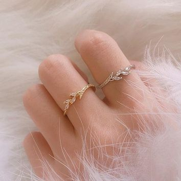 Exquisite 14K Gold Ring Eternity Wedding Band Filigree Leaf Diamond Jewelry Proposal Anniversary Gift Daily Accessory Engagement Rings For Women Size 3-15