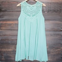 final sale - mint boho crochet lace dress
