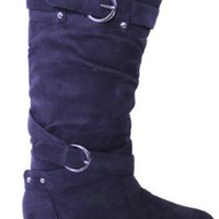 Women's Fashion Knee-High Black Suede Material Boots -048