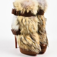 DCCK Christian Louboutin Brown Leather Fur  Toundra Booty 140  Boots