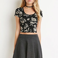 Buttoned Floral Crop Top