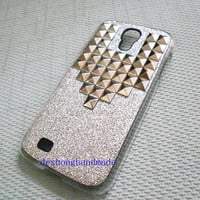 Samsung Galaxy S4 I9500 case,studded silver studs Samsung Galaxy S4 case,Samsung Galaxy S4 hard case---Super bright case