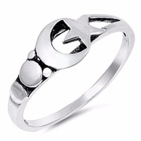 Sterling Silver Moon and Star Ring 5MM