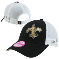 New Era New Orleans Saints 9FORTY Ladies Sequin Shimmer Adjustable Hat - Black/White