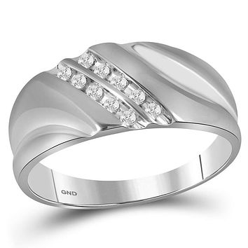 Sterling Silver Men's Round Channel-set Diamond Wedding Band Ring 1/8 Cttw - FREE Shipping (US/CAN)