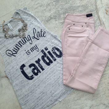 running late is my cardio workout tank workout top workout womens workout shirt workout trending gym tank gym shirts fitness tank activewear