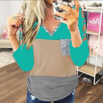 fhotwinter19 Hot sale hollow sequined V-neck color matching long-sleeved T-shirt