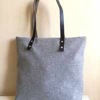Woven Tote Bag,Leather Tote Bag,Shopping Tote Bag,Gray Tote Bag,Gray Woven Handbag,Genuine Leather Strap Tote,Woven Tote Bag, gift for her