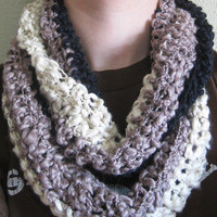 Rosa Infinity Scarf - Crochet scarf ombre black taupe cream