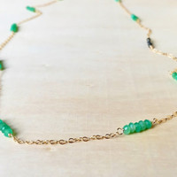 Extra Long, Station Necklace with Natural, Green Chrysoprase and Sparkling, Gold Pyrite Rondelles in 14k Gold Fill, Layering, Gold Necklace