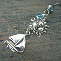 The sun and sailboat belly ring sailing summer beach vacation memories boho belly dancer  gypsy tribal  and hipster style