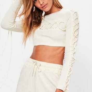 Missguided - Cream Lace Up Detail Crop Top