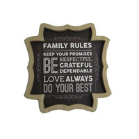 Family Rules Wood Wall Home Decor