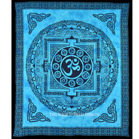 Turquoise Tibetan Style OM Tapestry, Yoga Meditation Tie Dye Tapestry Wall Hanging on RoyalFurnish.com