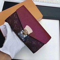 Louis Vuitton LV Stylish Women Shopping Bag Leather Buckle Wallet Purse I/A