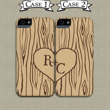 Two Heart in Woodgrain iPhone Cases - Mix and Match Faux Bois Samsung and iPhone Cases, Newlywed, Boyfriend, Girlfriend Phone Covers