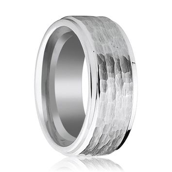 Extra Wide 9MM Tungsten Wedding Band for Men with Hammered Center & Stepped Edges