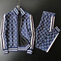 GUCCI popular casual letter digital thickened fabrics printed men casual popular logo suit men autumn sportswear two pieces High quality