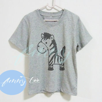 Cute zebra horse Crew neck sweatshirt Short sleeve t shirt+off white or grey toddlers shirt +kids girl boy clothes