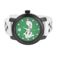 Techno Pave Watch Silicone Band Green Dial Designer Classy