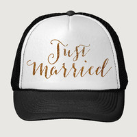 Glitter Print! Just Married, Trucker Hat, Bachelorette Party Trucker Hat, Bridal Party Trucker Hat, Baseball Hat, One Size Fits Most