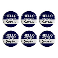 Soren Hello My Name Is Plastic Resin Button Set of 6