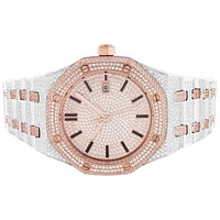 Men's Two-Tone Rose Gold Finish Stainless Steel Designer Watch