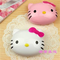 Hello Kitty Portable Eyewear Contain Crystal Contact Lenses Case with Bottle Womans Travel Kit Cat Contact Lens Box DA