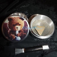 Teddy Bear Smoking Bong 4 Piece Herb Grinder Pollen Screen and Catcher from Cognitive Fashioned