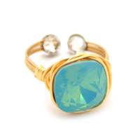 Aurora Borealis Ring in Gold: Mint Opal Swarovski® Crystal