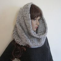 KNIT COWL SCARF,  loop scarf, eternity scarf, gray marbel cowl,infinity, chunk scarf, neck scarves, crocheted shawls, knit scarves,