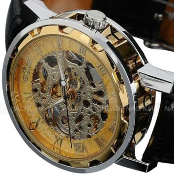 Classic Men's Gold Dial Wrist Watch