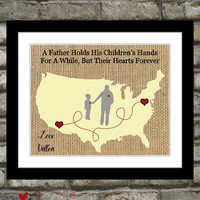 Personalized Fathers Day Gift For Dad Birthday Long Distance Map Hearts Quote Wall Art Home Decor Picture Ideas Daddy From Son Daughter