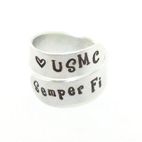 USMC ring Semper Fi ring - Semper Fi jewelry - Stamped metal ring - Gift for marine - Gift for him gift for her