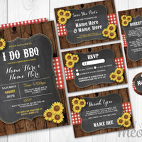 Rustic I Do BBQ Wedding Invitations Set Chalk Package Printable Invites Save The Date INSTANT DOWNLOAD Tag Red Check Sunflower Wood Editable